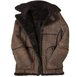 Saks Fifth Ave VTG Sheepskin Brown Shearling Coat